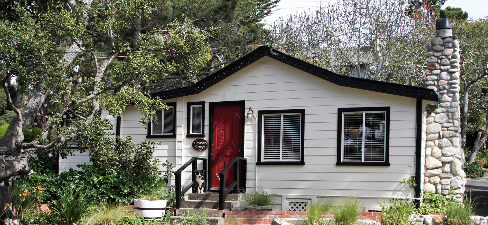 pet-friendly carmel cottages - dog sitting on step of cottage with red door